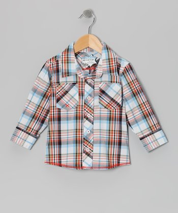Bright White Plaid Speed Demon Button-Up - Infant, Toddler & Boys