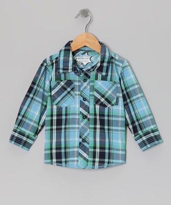 Peacoat Plaid Speed Demon Button-Up - Infant, Toddler & Boys