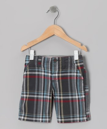 Dark Shadow Plaid Super Shorts - Boys