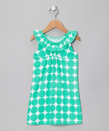 Green Big Dot Flounce Dress - Infant, Toddler & Girls