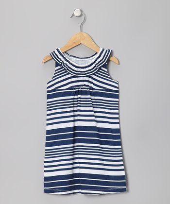 Blue Nautical Stripe Flounce Dress - Infant, Toddler & Girls