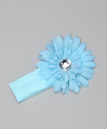 Blue Knit Flower Headband