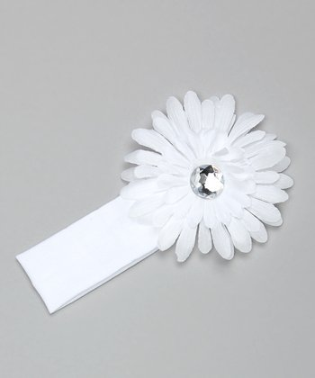 White Knit Flower Headband