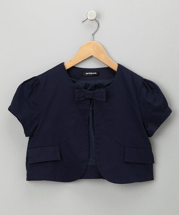 Navy Cropped Jacket - Toddler & Girls