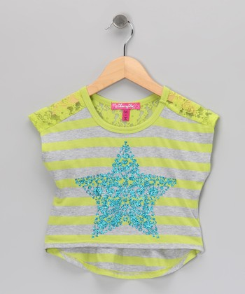 Celadon Ring Stripe Star Cape-Sleeve Crop Top - Toddler