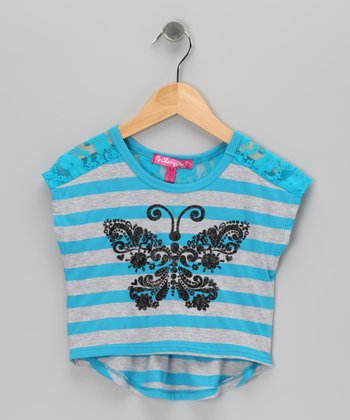 Marine Transport Stripe Butterfly Cape-Sleeve Crop Top - Toddler