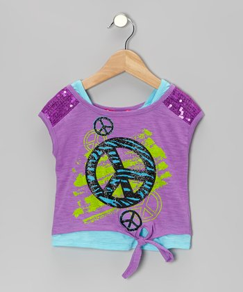 Purple & Aqua Layered Tie-Front Top - Toddler