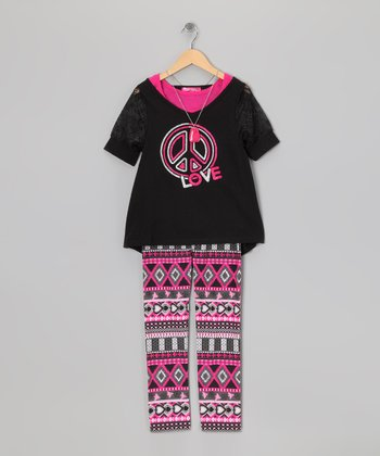 Black Peace Sign Layered Top & Leggings - Toddler & Girls