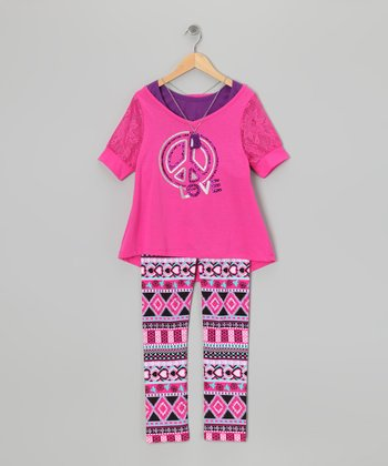 Fuchsia Peace Sign Layered Top & Leggings - Toddler & Girls