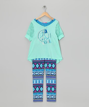 Sage Garden Peace Sign Layered Top & Leggings - Toddler & Girls