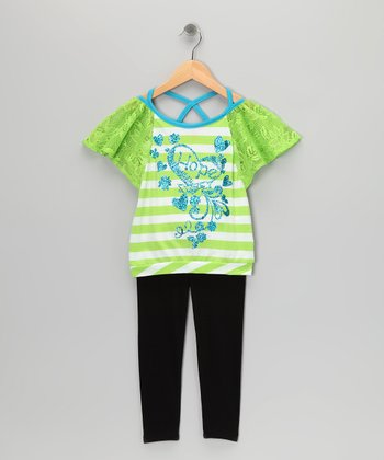 Lime 'Hope' Tunic & Black Leggings - Toddler & Girls