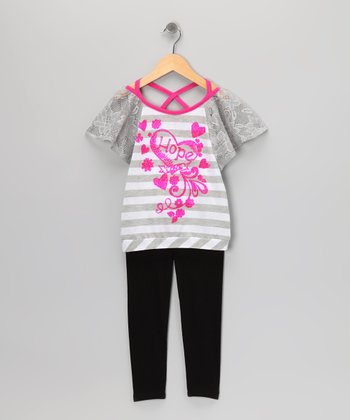 Heather Gray 'Hope' Tunic & Black Leggings - Toddler & Girls