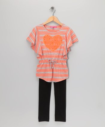Birthday Orange Stripe Heart Tunic & Leggings - Toddler & Girls