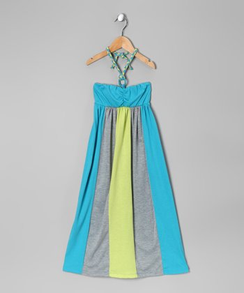 Celadon & Teal Color Block Halter Dress - Girls