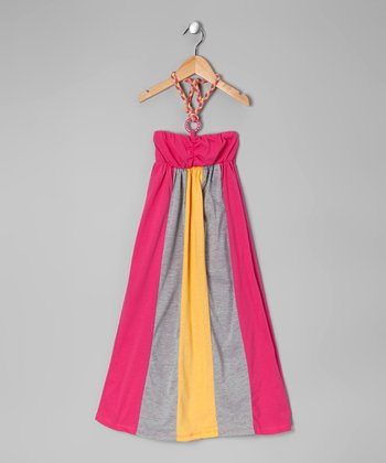 Yellow & Fuchsia Color Block Halter Dress - Toddler & Girls