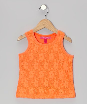 High Coral Lace-Front Tank - Toddler & Girls
