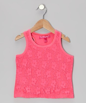 Knockout Pink Lace-Front Tank - Toddler & Girls