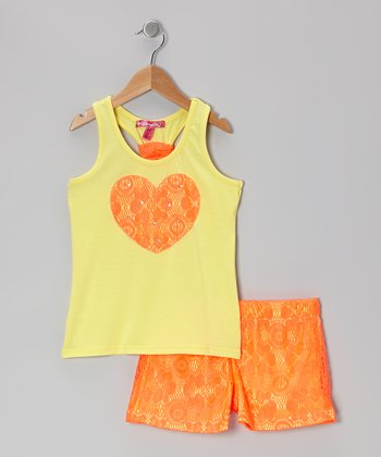 Lemon & Coral Racerback Tank & Lace Shorts - Toddler & Girls