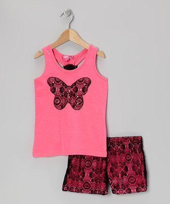 Pink & Black Racerback Tank & Lace Shorts - Toddler & Girls