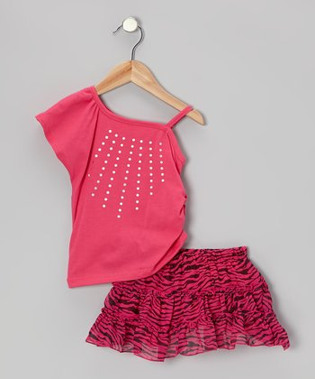 Fuchsia Asymmetrical Top & Stripe Skort - Toddler & Girls