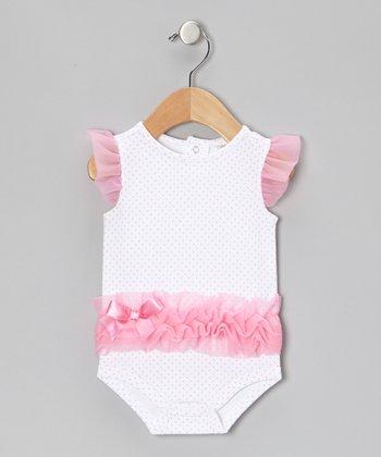 Baby Gear Pink Pin Dot Ruffle Bodysuit - Infant