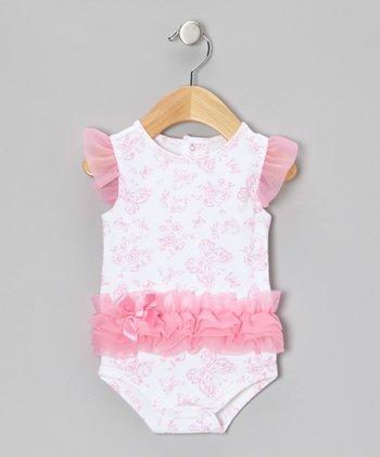Baby Gear Pink Butterfly Ruffle Bodysuit - Infant