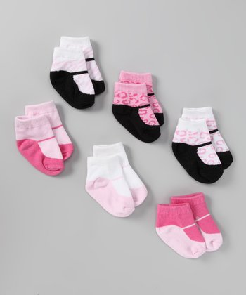 Pink Animal Print Socks Set