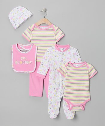 Yellow & Pink Six-Piece Layette Set