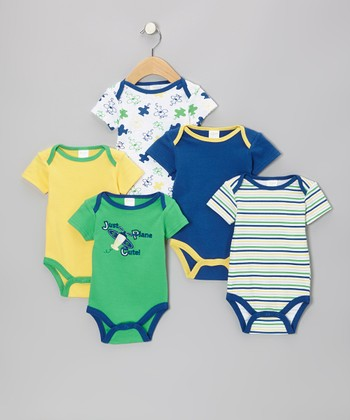 Green 'Just Plane Cute' Watch-Me-Grow Bodysuit Set