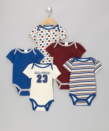 Baby Gear Navy 'All-Star' Watch-Me-Grow Bodysuit Set - Infant
