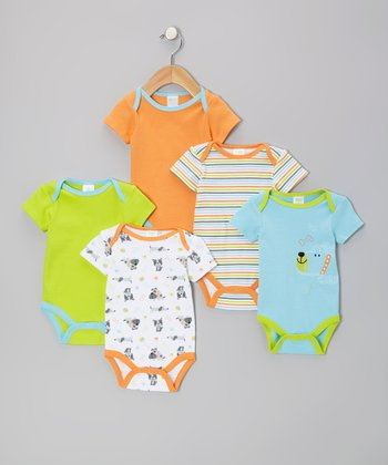 Teal Puppy Watch-Me-Grow Bodysuit Set