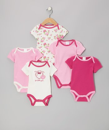 Pink 'Thank Heaven' Watch-Me-Grow Bodysuit Set