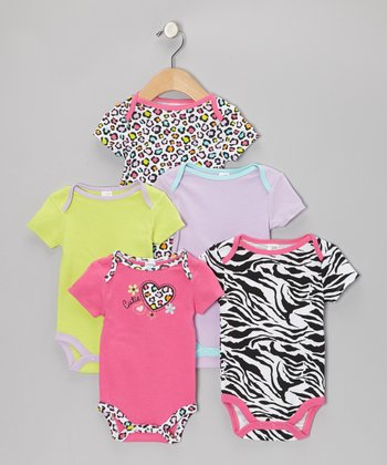 Pink Leopard 'Cutie' Watch-Me-Grow Bodysuit Set