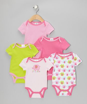 Pink 'Little Girl' Watch-Me-Grow Bodysuit Set