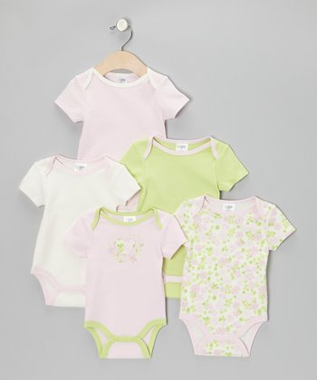 Pink Floral Heart Watch-Me-Grow Bodysuit Set