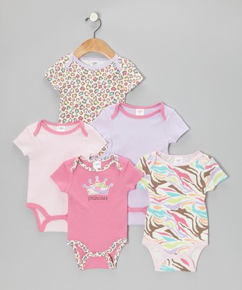 Baby Gear Pink 'Princess' Watch-Me-Grow Bodysuit Set
