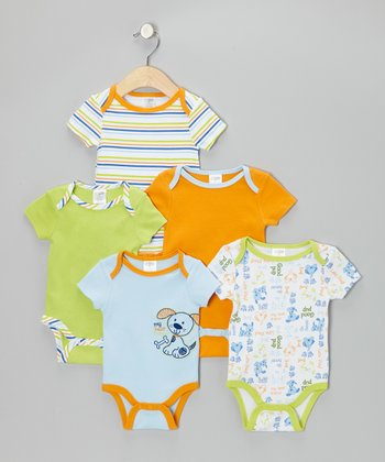 Blue Puppy Watch-Me-Grow Bodysuit Set