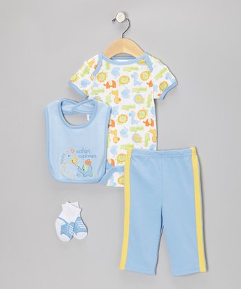 Blue 'Safari Explorers' Deluxe Bodysuit Set - Infant