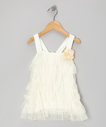 Cream Ruffle Tiered Swing Dress - Infant, Toddler & Girls