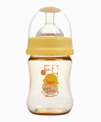 Yellow Branded Wide-Neck Infant Bottle