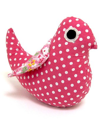 Pink & White Dotted Fabric Bird Bookend
