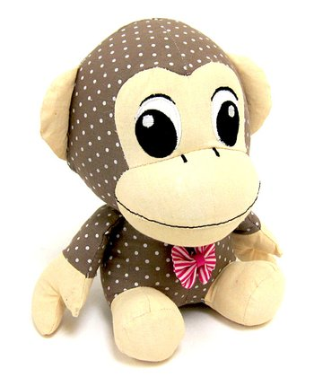 Brown & White Dotted Fabric Monkey Bookend