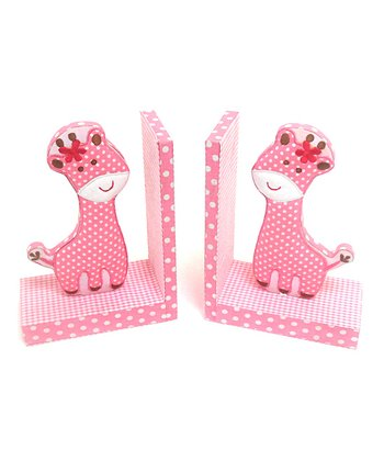 Pink Giraffe Bookend - Set of Two