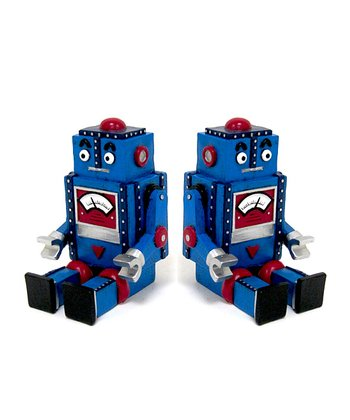Blue Robot Bookend - Set of Two