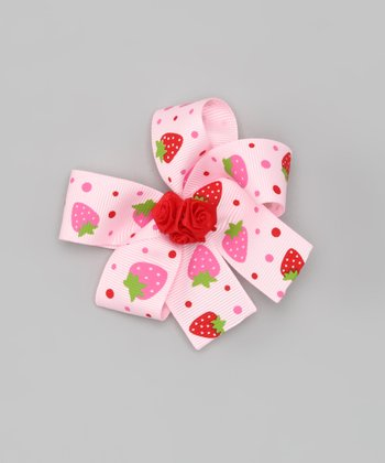 Pink & Red Strawberry Bow Clip
