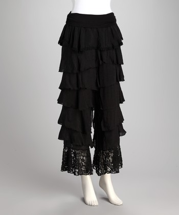 Black Ruffle Lace-Hem Palazzo Pants - Women & Plus