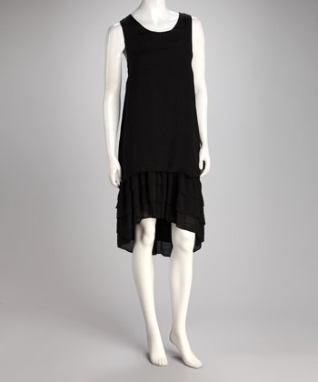 Black Tier Hi-Low Dress