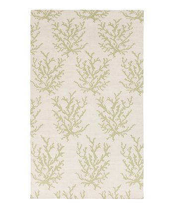 White & Green Coral Boardwalk Wool Rug