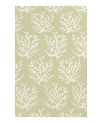 Green & White Coral Boardwalk Wool Rug