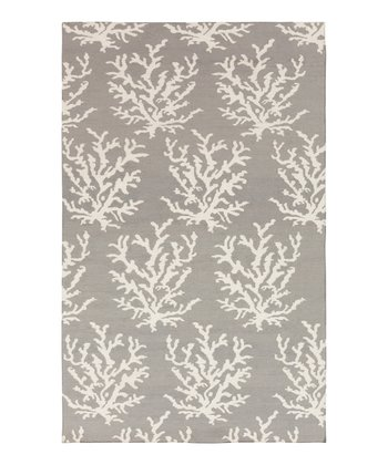 Light Gray & White Coral Boardwalk Wool Rug